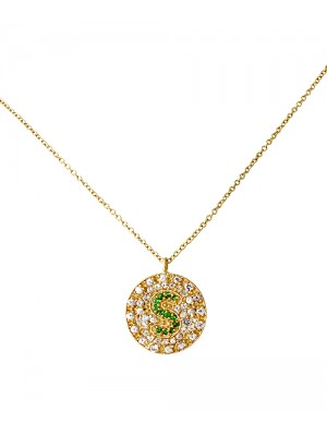 Pave Initial Disc Necklace