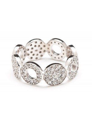 Alternating White Sapphire Disc Ring