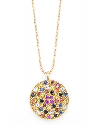 Multi Sapphires & Black Diamonds Disc Necklace